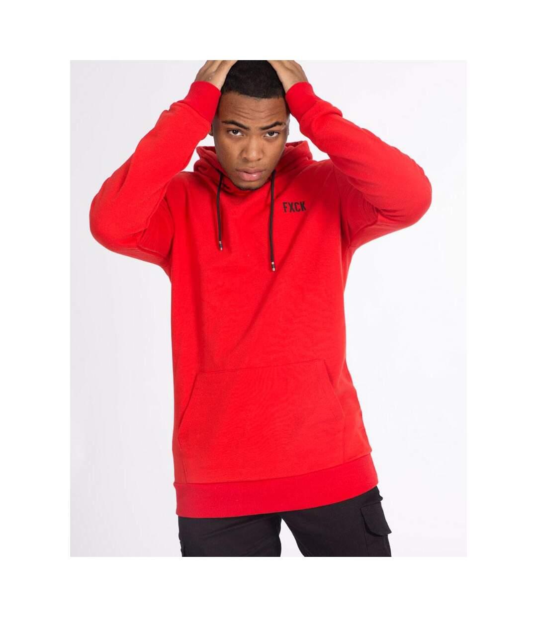 Sweat rouge à capuche et imprimé FXCK liste marque Luxe à poche ventrale pour homme