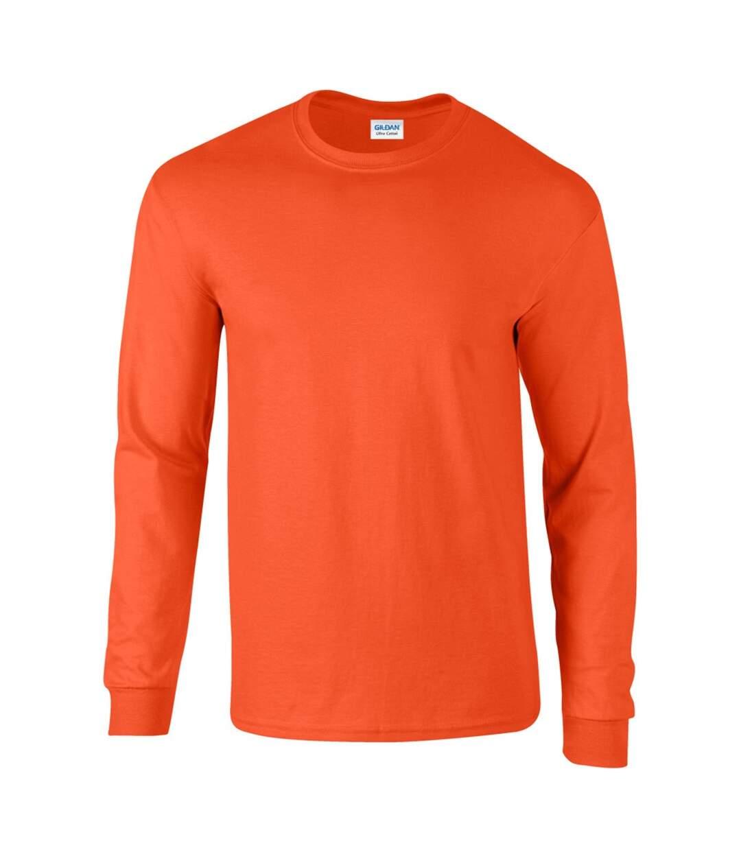 Gildan Mens Plain Crew Neck Ultra Cotton Long Sleeve T-Shirt (Orange) - UTBC477