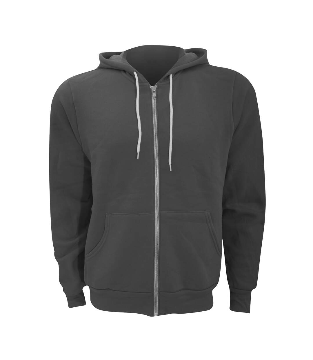 Canvas Unixex Zip-up Polycotton Fleece Hooded Sweatshirt / Hoodie (Asphalt) - UTBC1337
