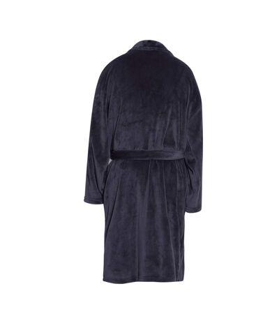 Pierre Roche Mens Flannel Fleece Robe (Black) - UTUT978