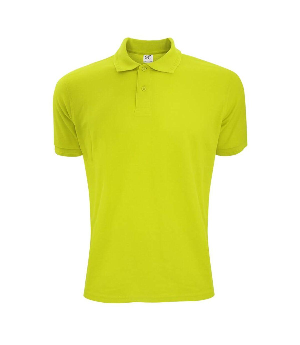 SG Mens Polycotton Short Sleeve Polo Shirt (Lime) - UTBC1084