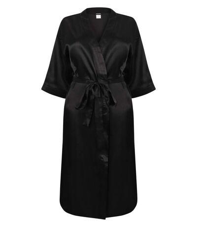 Peignoir kimono en satin - femme - TC054 - noir