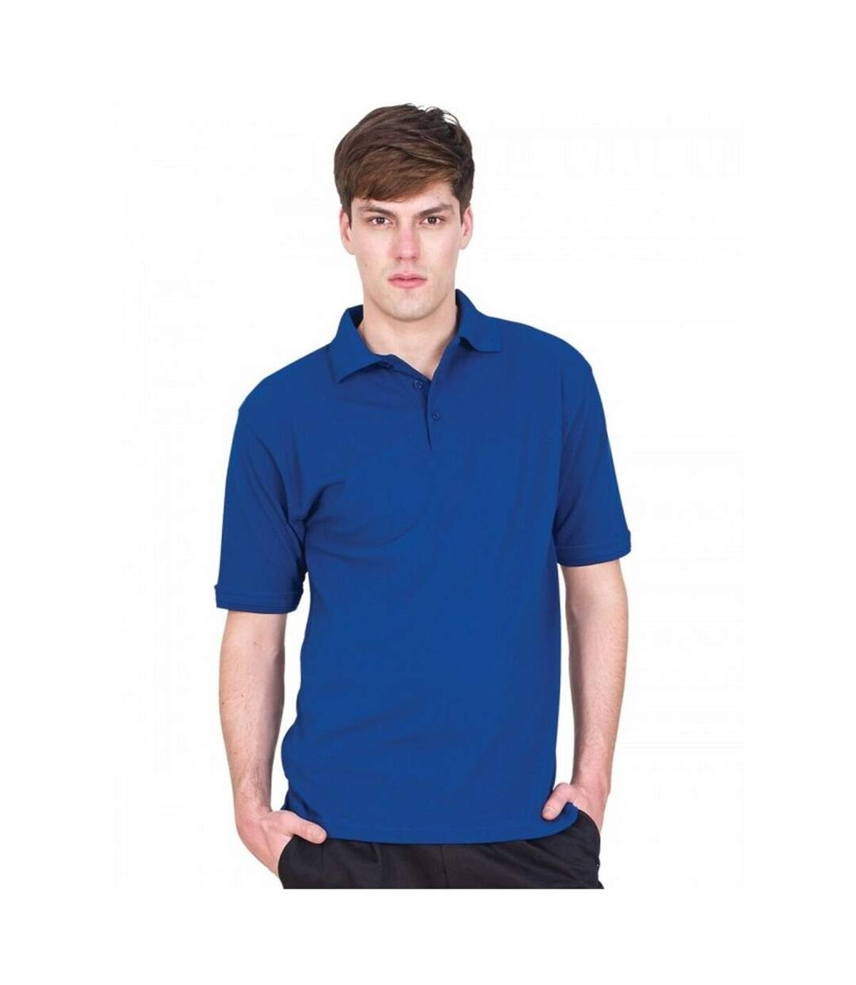 UCC 50/50 Mens Heavyweight Plain Pique Short Sleeve Polo Shirt (Royal) - UTBC1195
