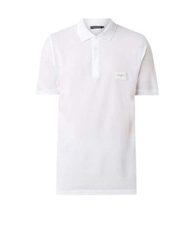 Polo en coton piqué à logo métal  -  Dolce&Gabbana - Homme