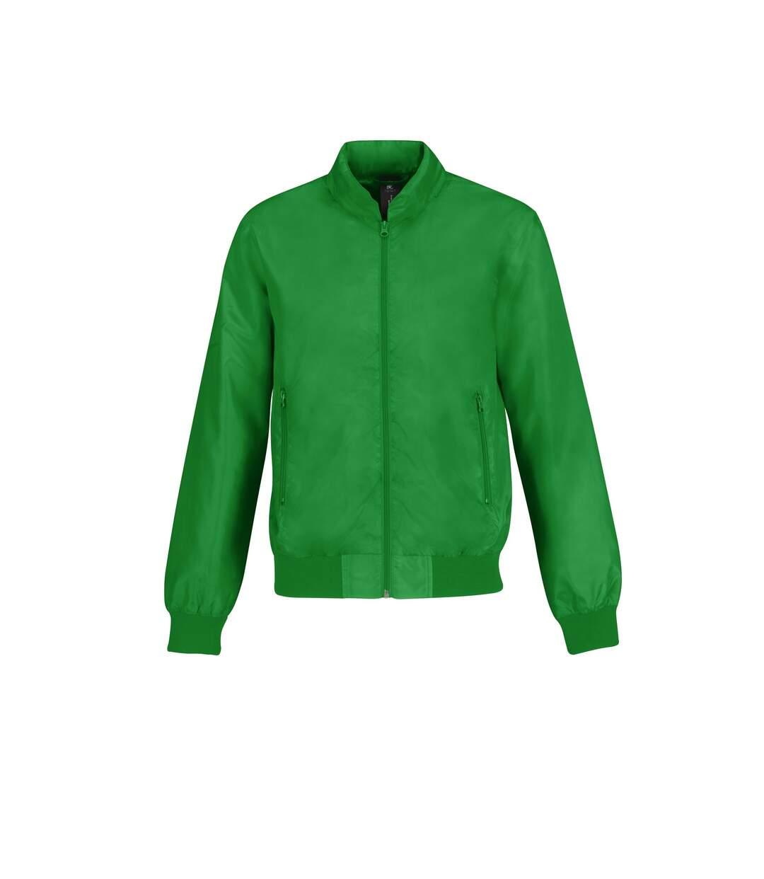 B&C Mens Trooper Lightweight Hooded Bomber Jacket (Real Green/ Neon Orange) - UTRW4832