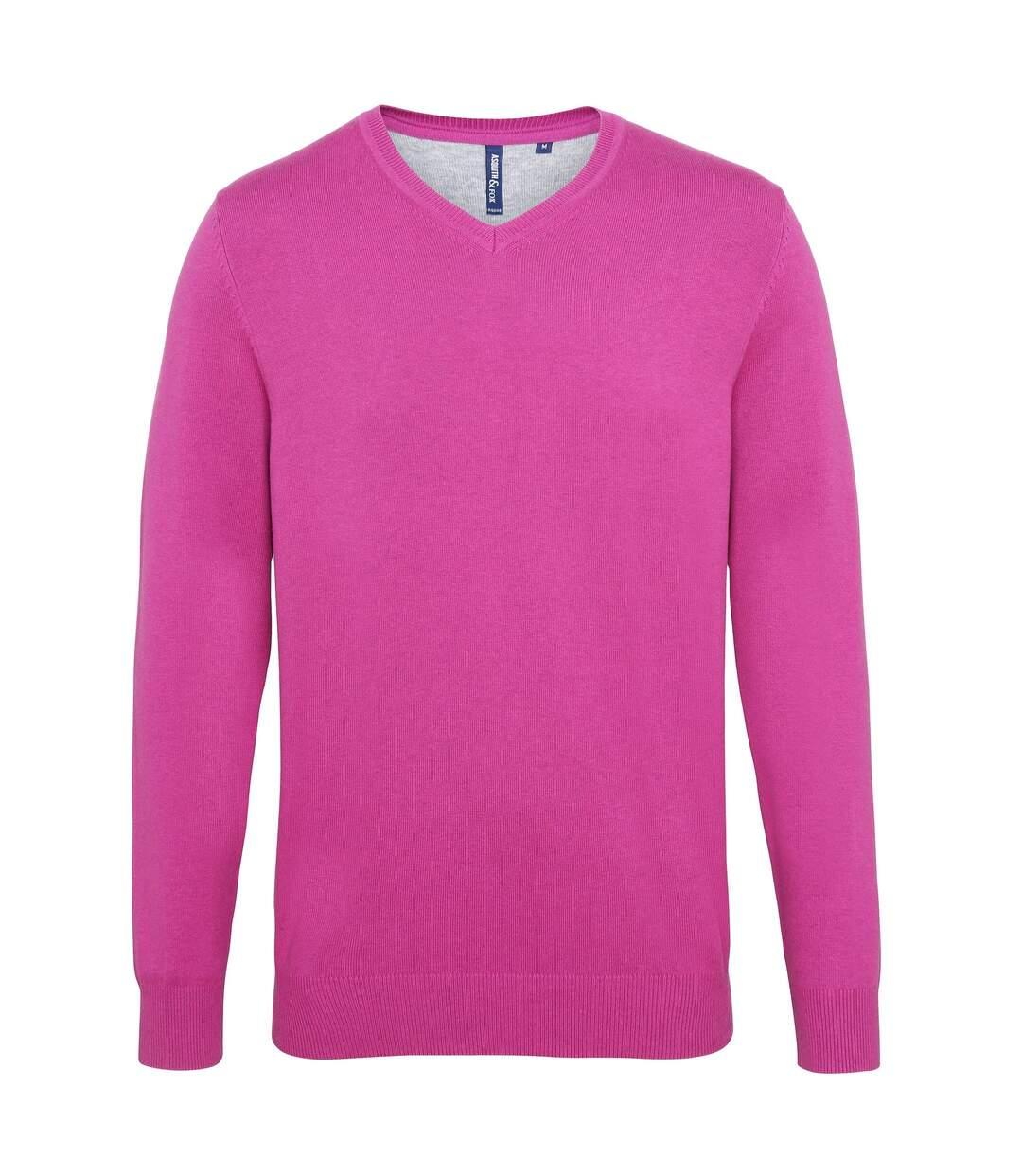 Asquith & Fox - Pull en coton à col V - Homme (Rouge cerise) - UTRW5188