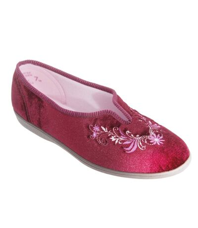 Sleepers Womens/Ladies Dolley V Throat Embroidered Slippers (Wine) - UTDF531