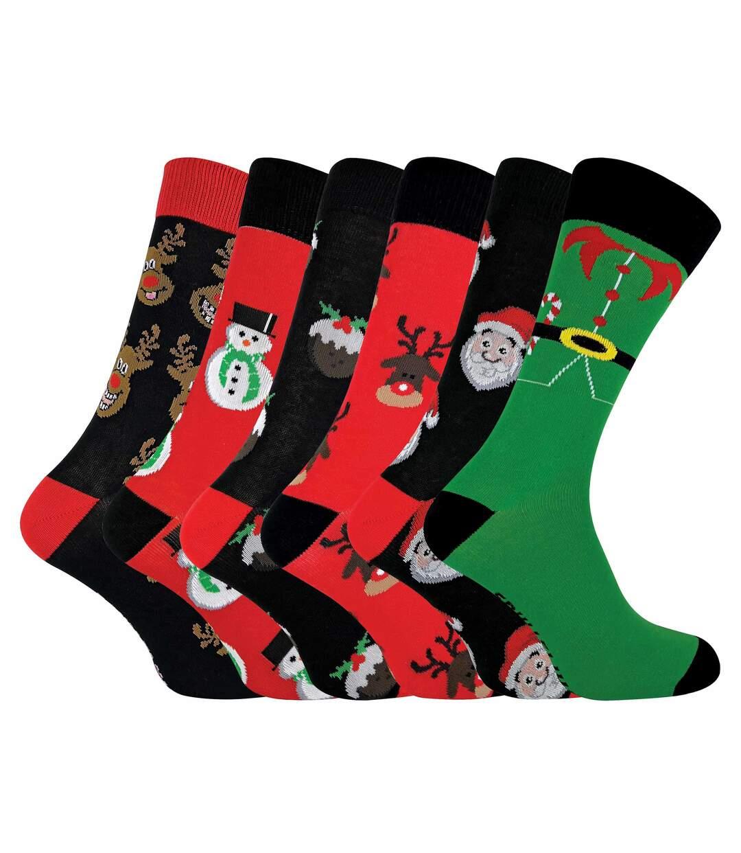 FESTIVE FEET Mens 6 Pk Novelty Christmas Socks