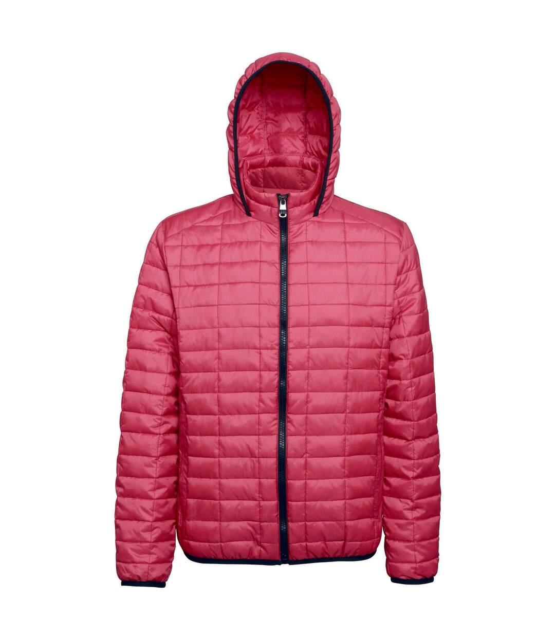 2786 Mens Honeycomb Padded Hooded Jacket (Red) - UTRW5018