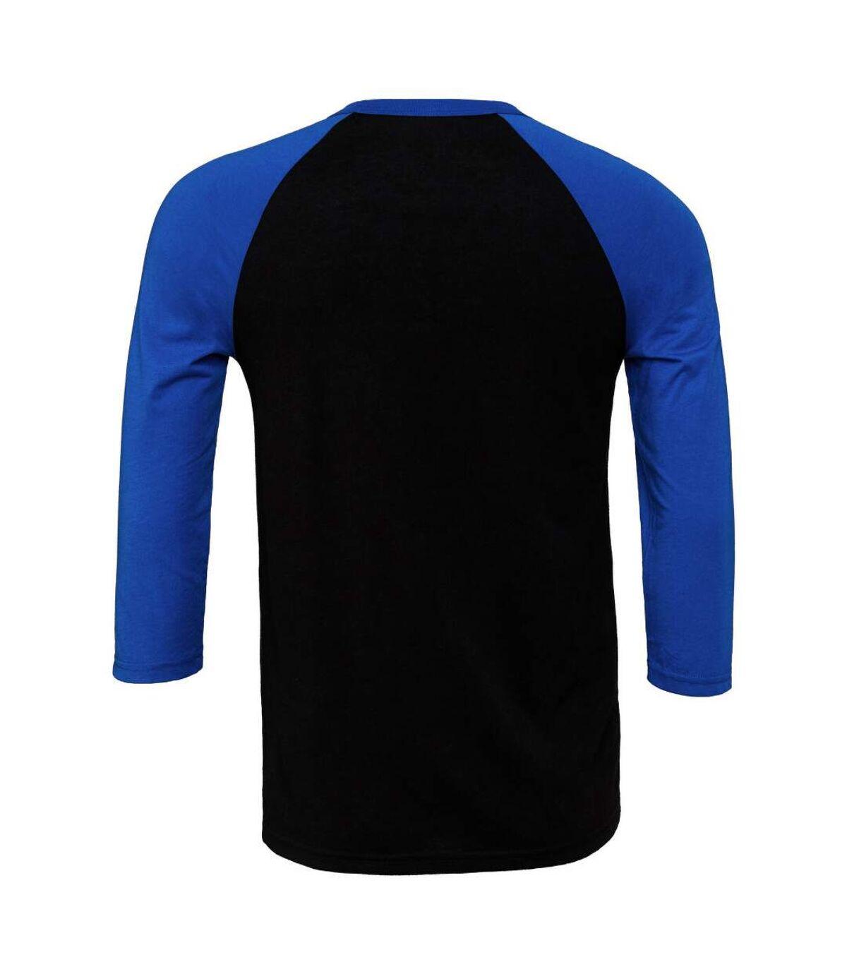 Canvas Mens 3/4 Sleeve Baseball T-Shirt (Black/True Royal) - UTBC1332