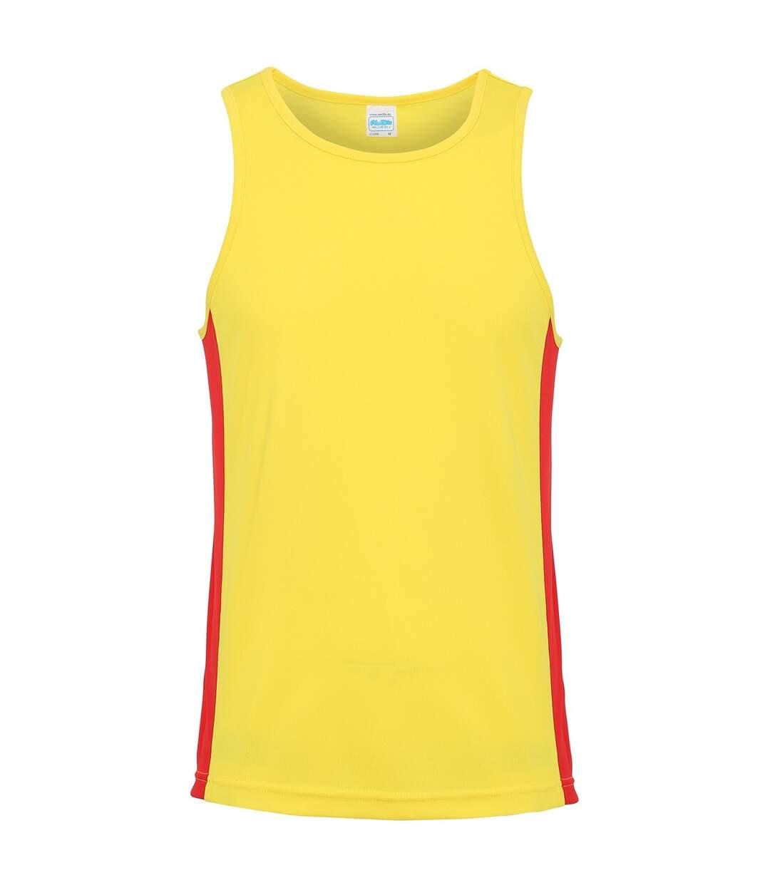 AWDis Just Cool Mens Contrast Panel Sports Vest Top (Jet Black/Arctic White) - UTRW3476