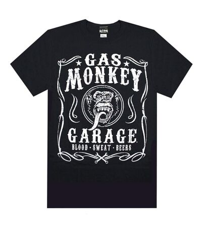 Gas Monkey Garage Mens Blood Sweat and Beers Short-Sleeved T-Shirt (Black) - UTNS5980
