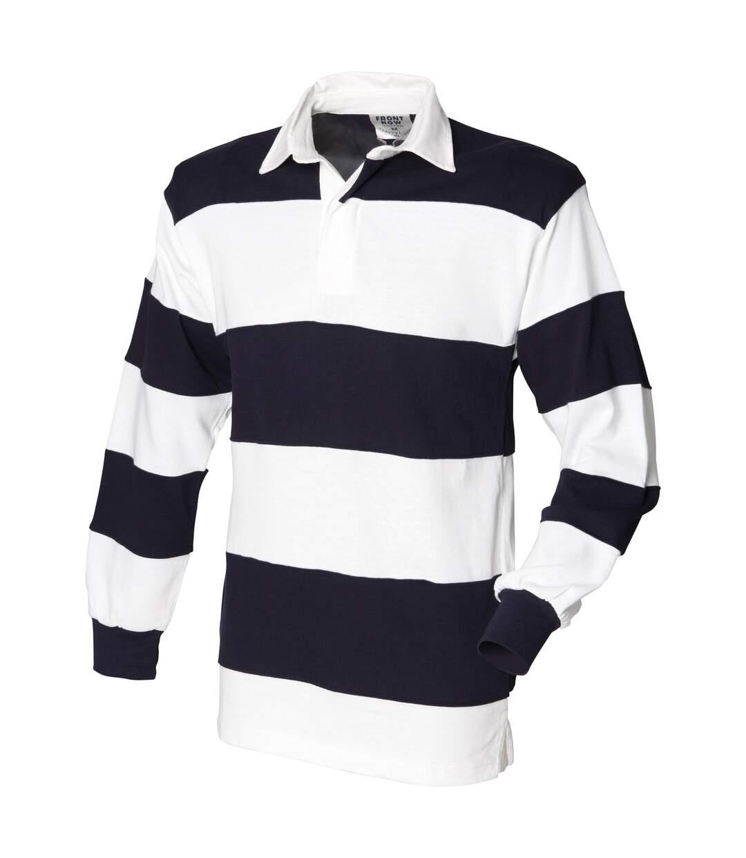 Front Row - Polo De Rugby Rayé À Manches Longues 100% Coton - Homme (Bordeaux/Bleu marine) - UTRW476