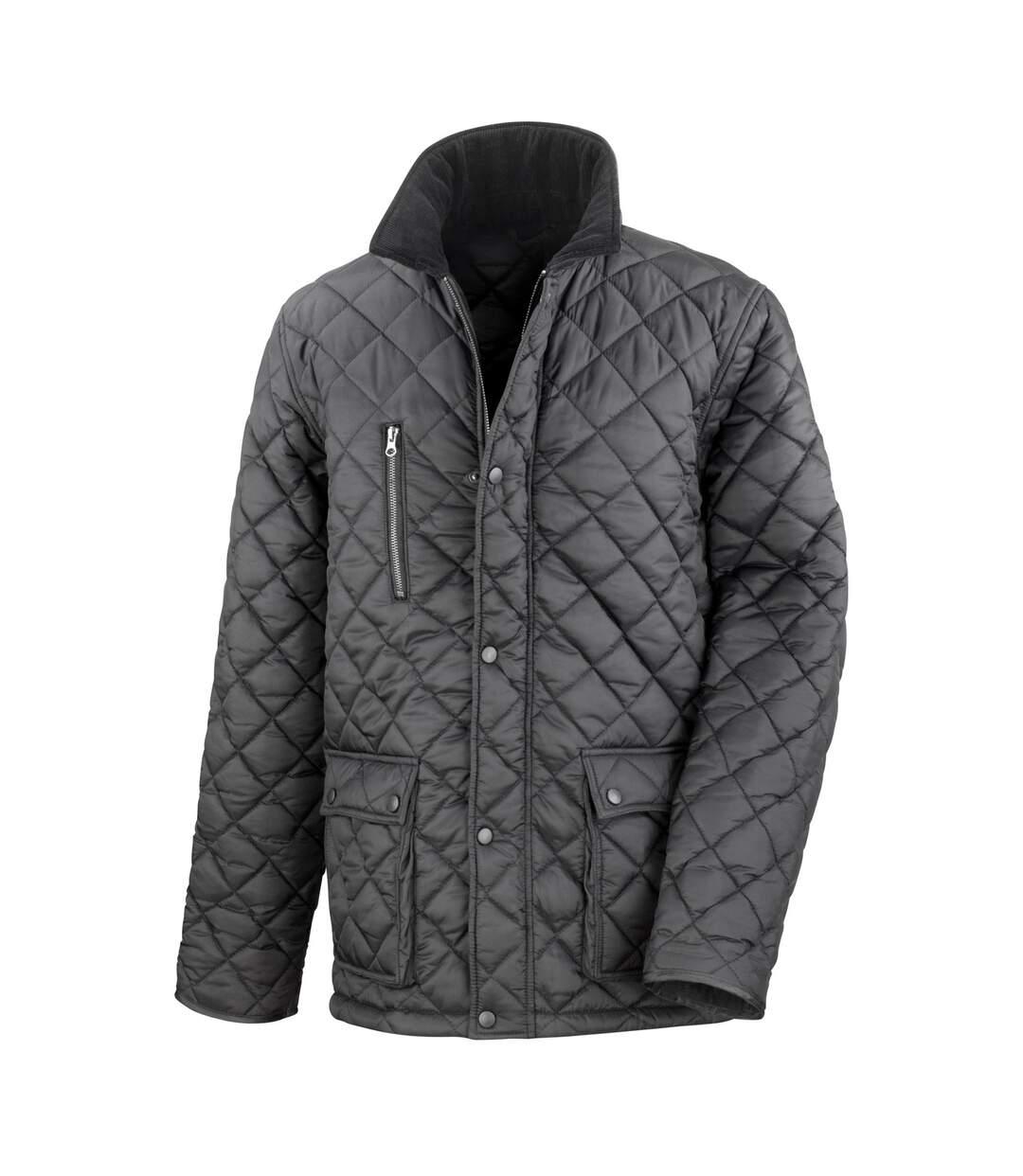Result Mens Cheltenham Gold Fleece Lined Jacket (Water Repellent & Windproof) (Black) - UTBC2049