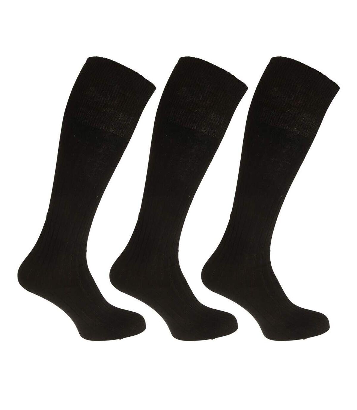 Mens Ribbed Knee High 100% Cotton Socks (Pack Of 3) (Black) - UTMB202