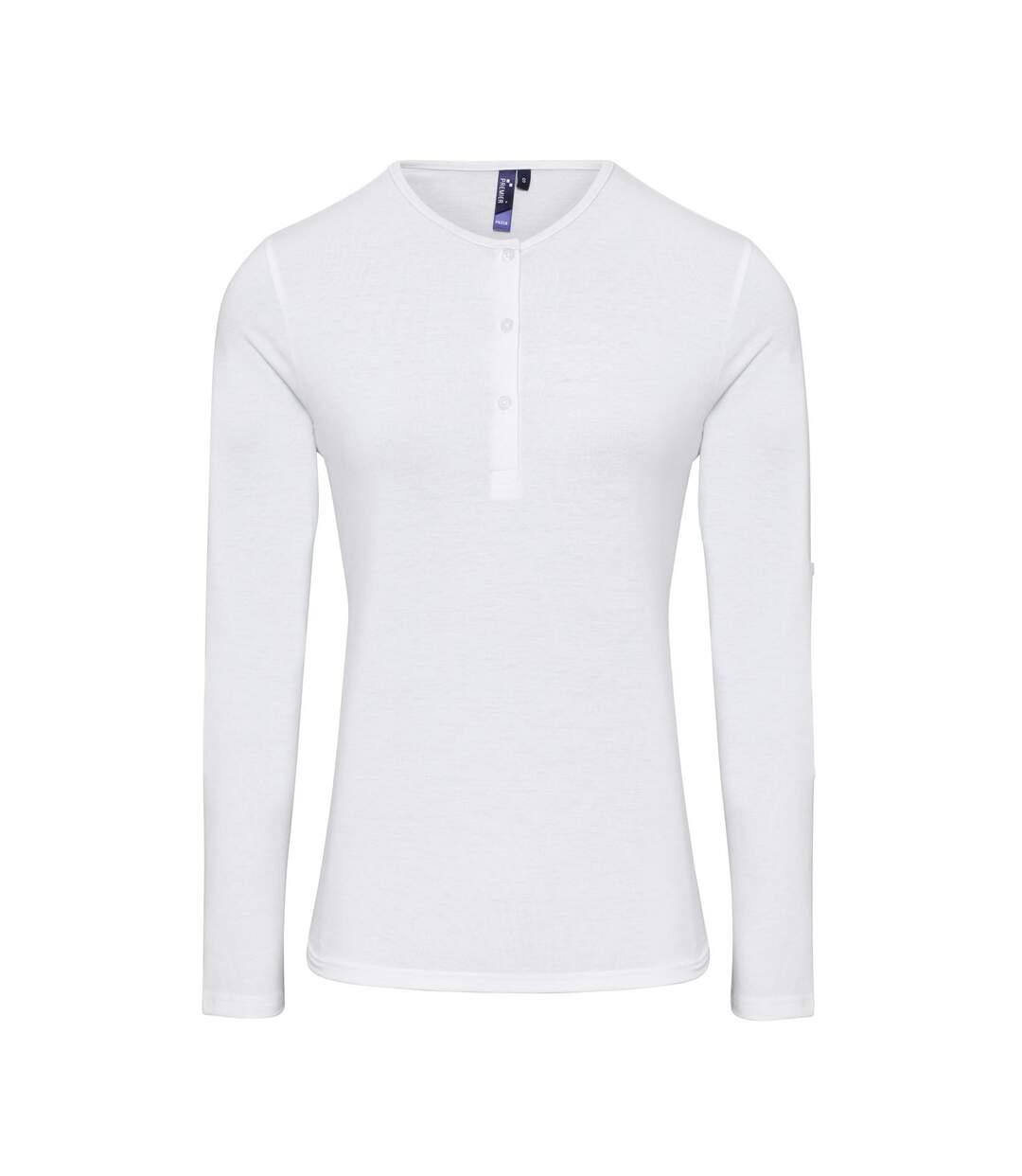 Dégagement T-shirt henley manches retroussables Femme PR318 blanc dsf.d455nksdKLFHG