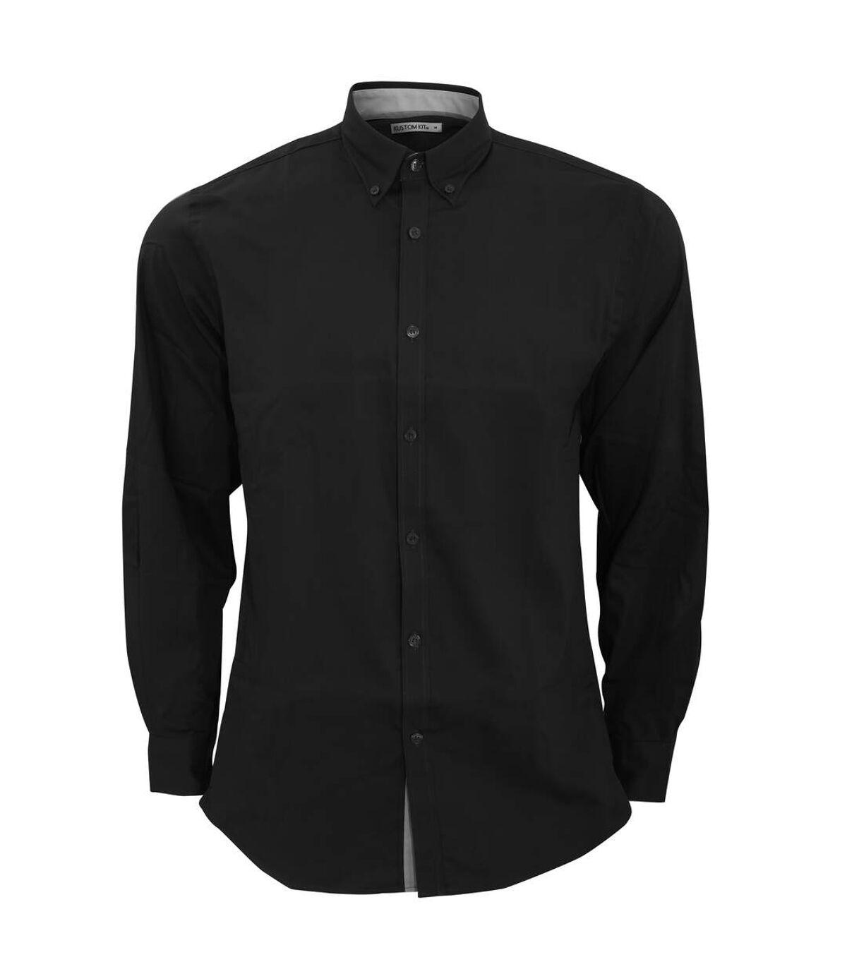 Kustom Kit Mens Contrast Premium Oxford Shirt (Black/Silver) - UTBC2682