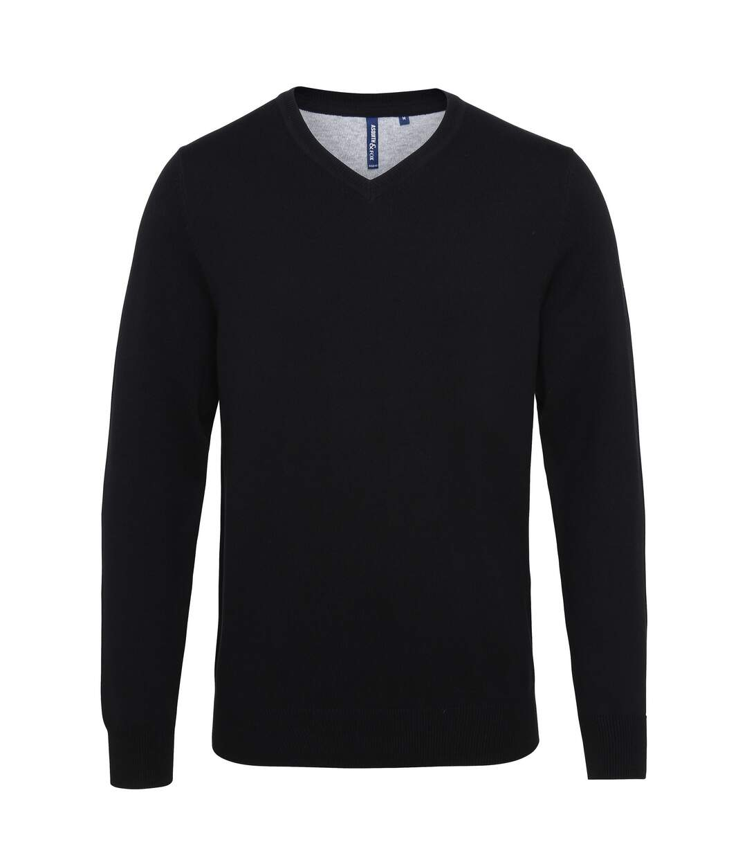 Asquith & Fox Mens Cotton Rich V-Neck Sweater (Black) - UTRW5188