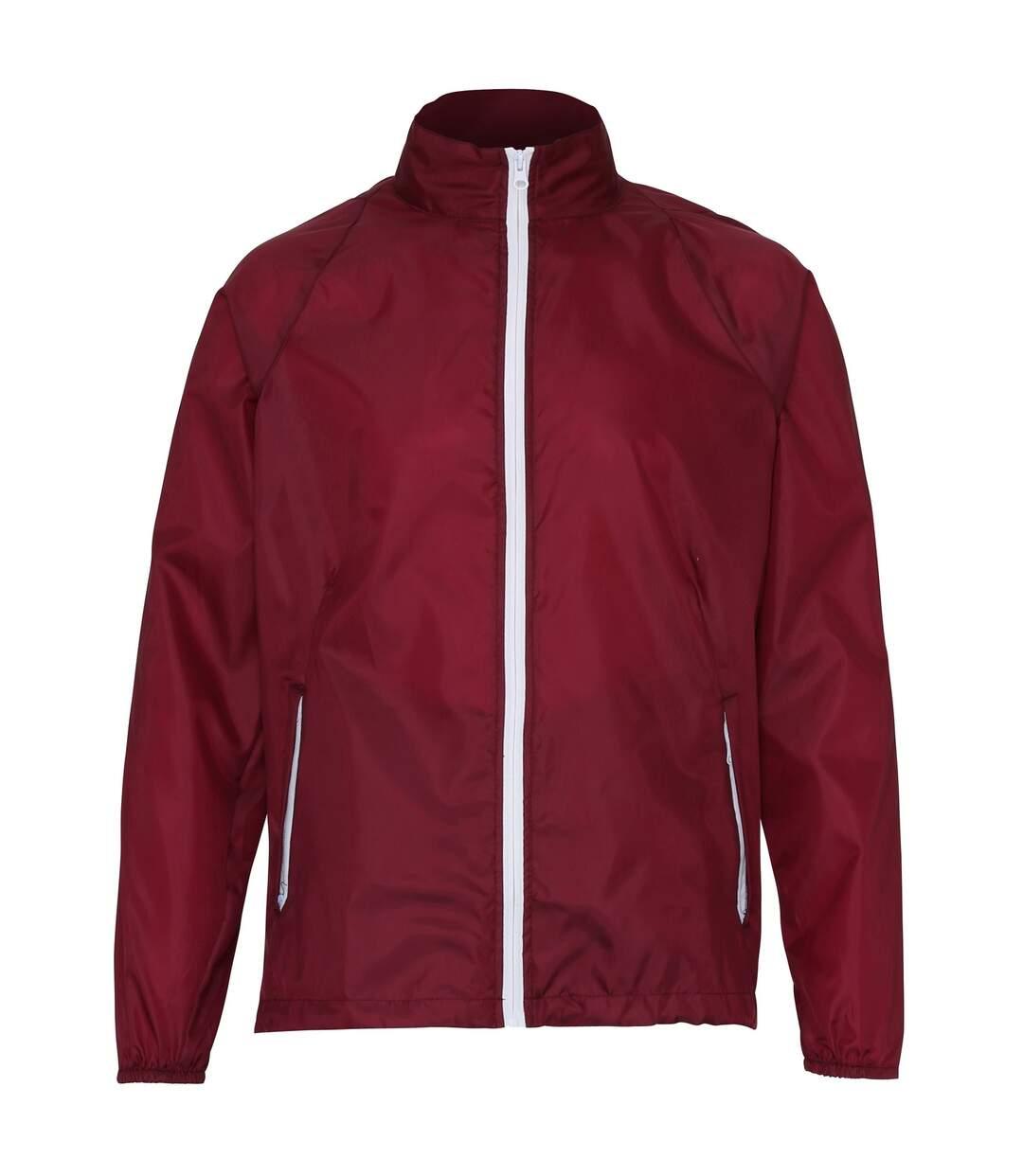 2786 Mens Contrast Lightweight Windcheater Shower Proof Jacket (Pack of 2) (Burgundy/ White) - UTRW7001