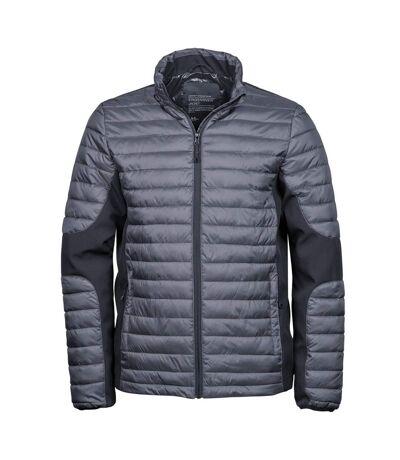 Teejays Mens Padded Full Zip Crossover Jacket (Space Grey/Black) - UTBC3834
