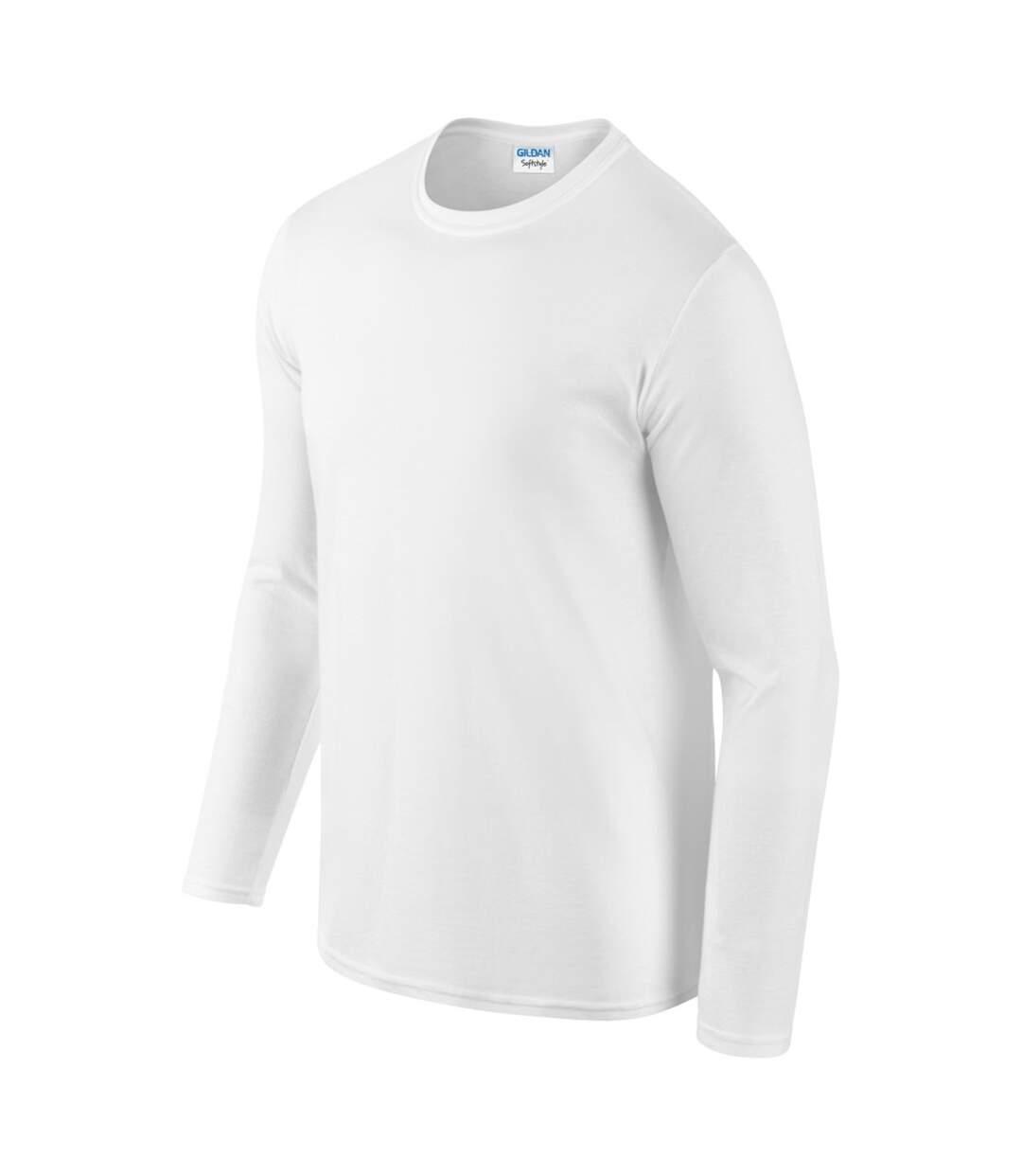 Gildan Mens Soft Style Long Sleeve T-Shirt (White) - UTBC488