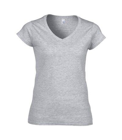 Gildan - T-shirt à manches courtes et col en V - Femme (Gris sport) - UTBC491