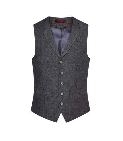 Brook Taverner Mens Memphis Waistcoat (Charcoal Herringbone Grey) - UTPC3397