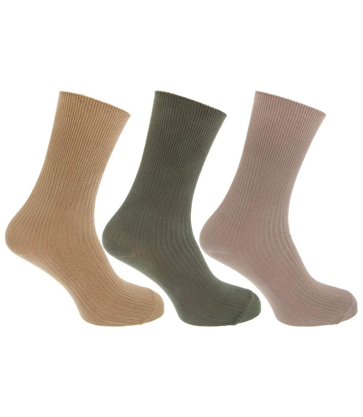 Mens Casual Non Elastic Bamboo Viscose Socks (Pack Of 3) (Beige/Green) - UTMB376