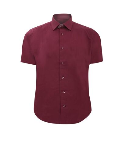 Russell Collection Mens Short Sleeve Easy Care Fitted Shirt (Port) - UTBC1033