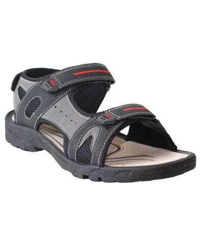 PDQ Mens Triple Touch Fastening Sports Sandals (Black/Grey) - UTDF802