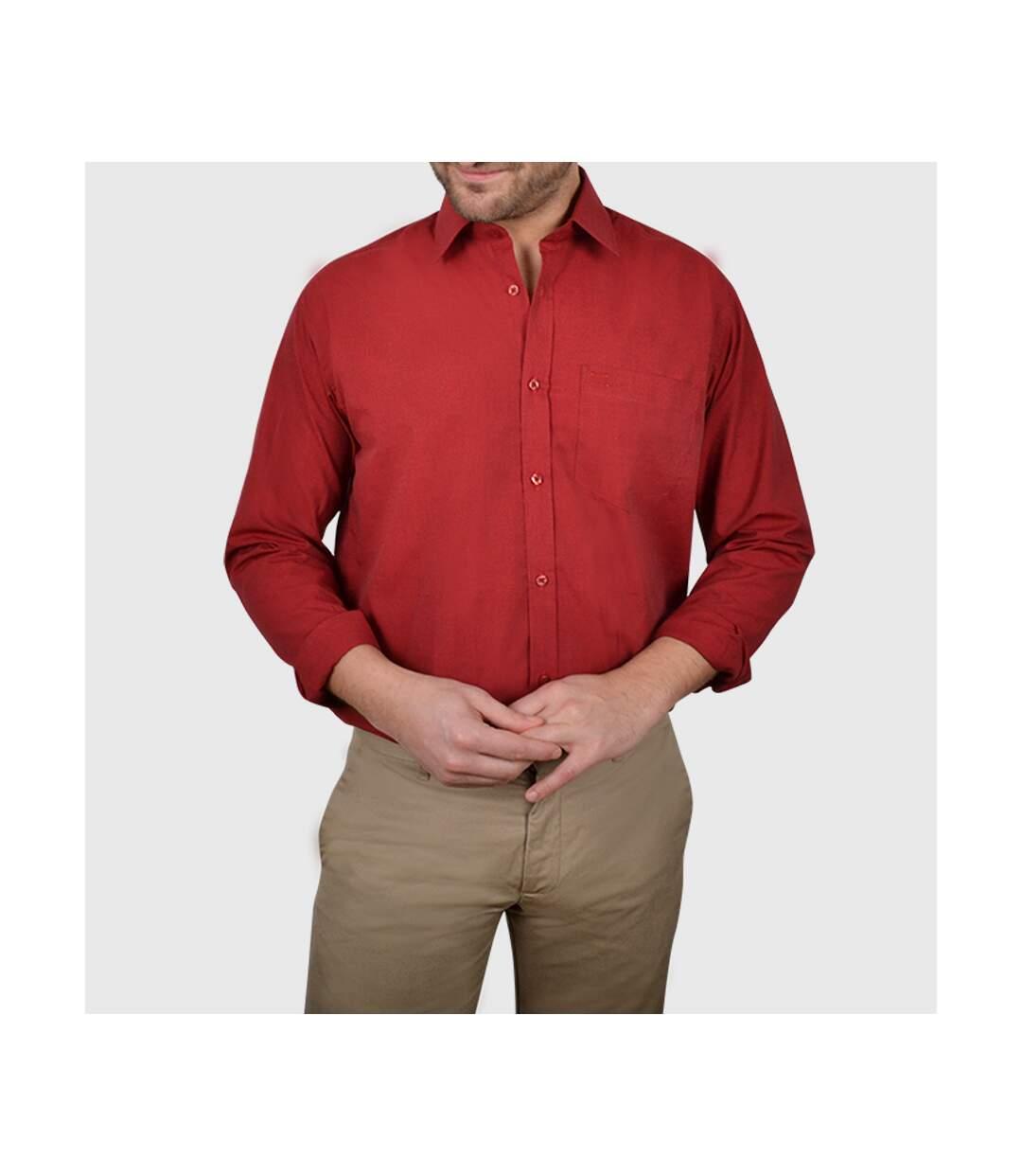 Chemise homme fil à fil bordeaux avec poche poitrine - Chemise NON CINTRÉE