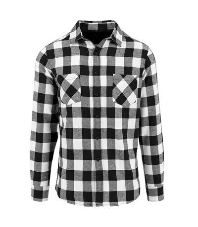 Build Your Brand Mens Checked Flannel Shirt (Black/White) - UTRW5669