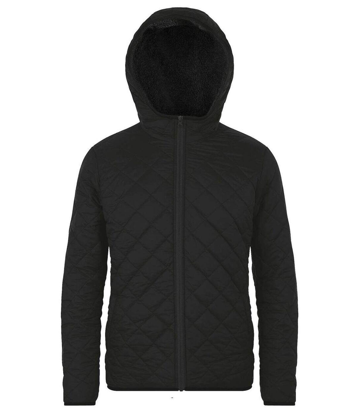 Parka à capuche doublée sherpa - 01615 - noir - unisexe