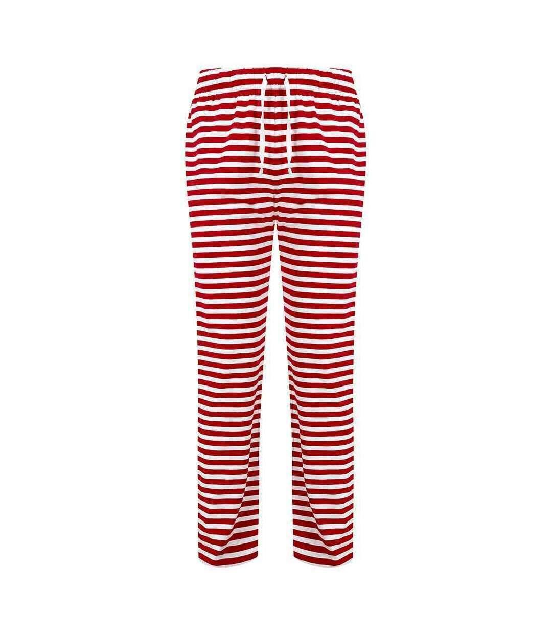 Skinni Fit Mens Lounge Pants (Red/White) - UTRW7996