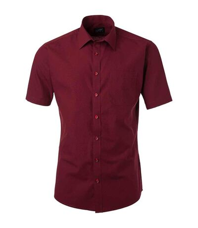 chemise popeline manches courtes - JN680 - homme - rouge vin