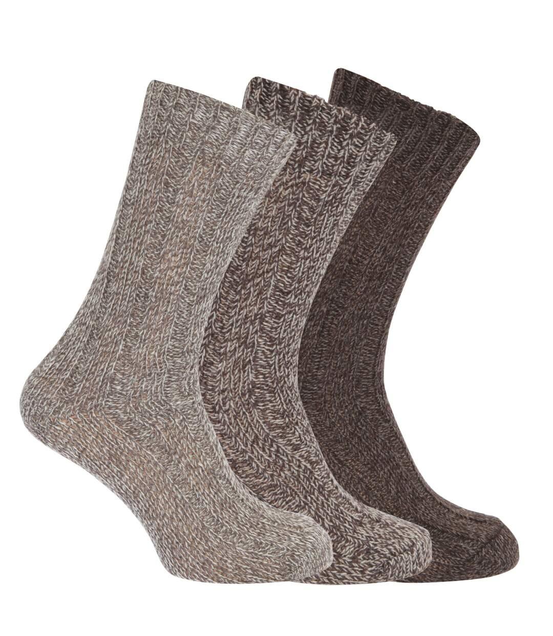 Mens Wool Blend Boot Socks (Pack Of 3) (Shades of Brown) - UTMB158