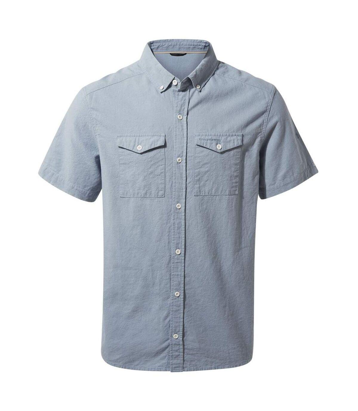 Craghoppers Mens Kiwi Linen Short Sleeved Shirt (Fogle Blue) - UTCG1345