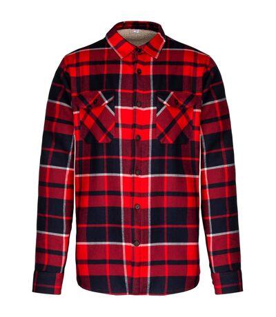 Kariban Mens Sherpa Lined Checked Shirt Jacket (Red/Navy) - UTPC3406