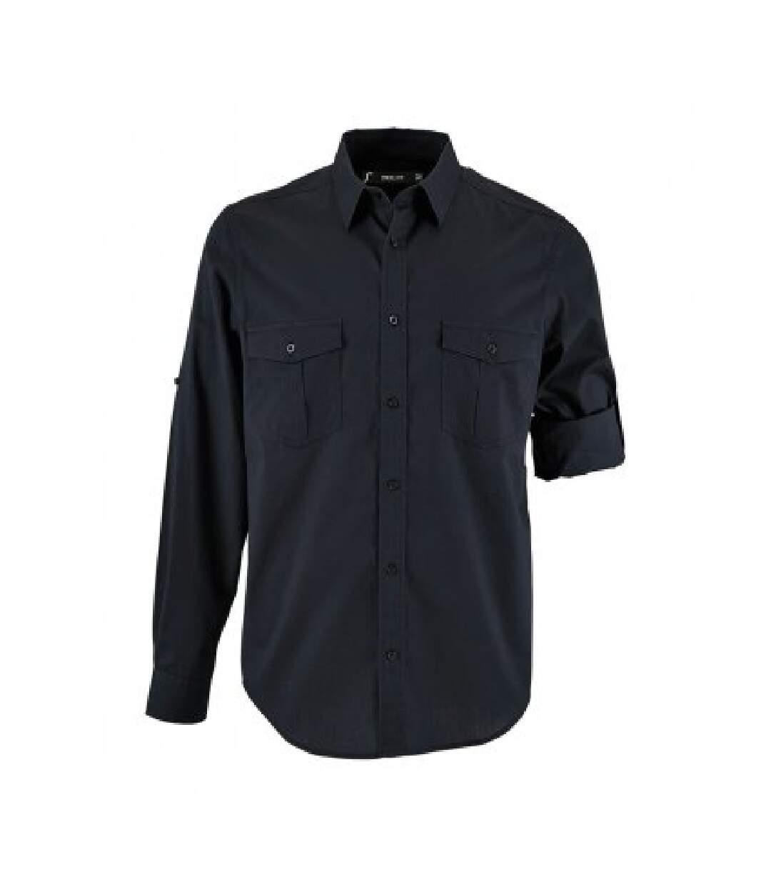 SOLS Mens Burma Roll Sleeve Poplin Shirt (Dark Blue) - UTPC3238