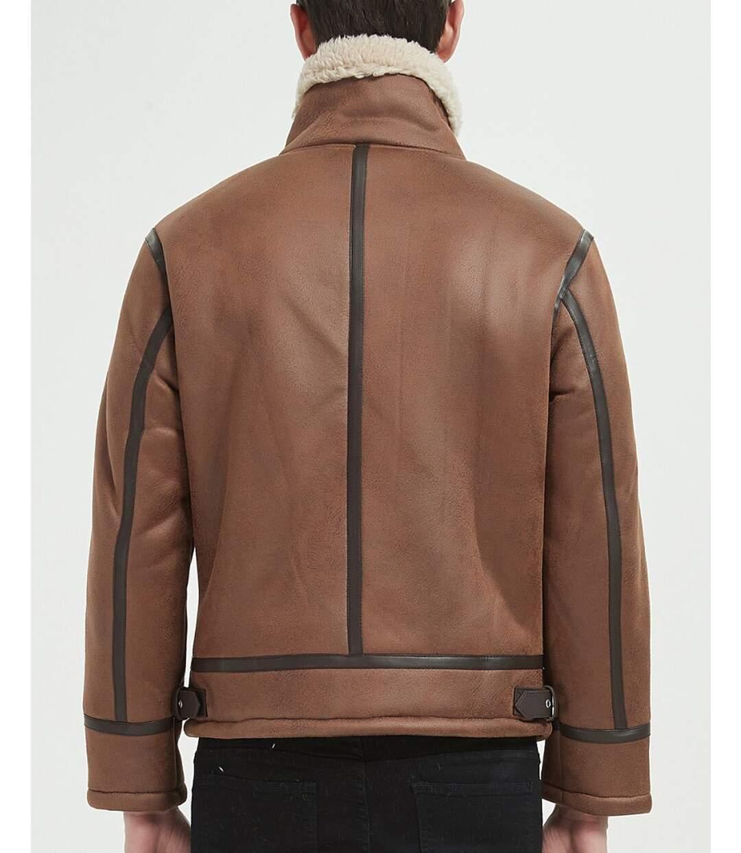 Veste aviateur marron camel avec simili cuir et doublure sherpa beige pour homme