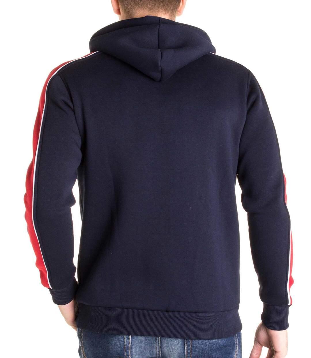 Sweat bleu à capuche avec bande rouge sur les manches