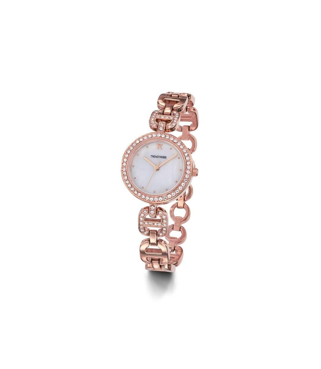 Montre Elégante Trendy Kiss Femme Doré rose avec strass - TMRG10112-03
