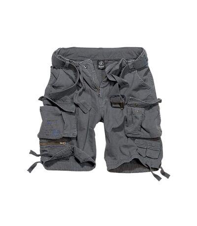 Short bermuda poches cargo toile gris anthracite pour homme avec ceinture