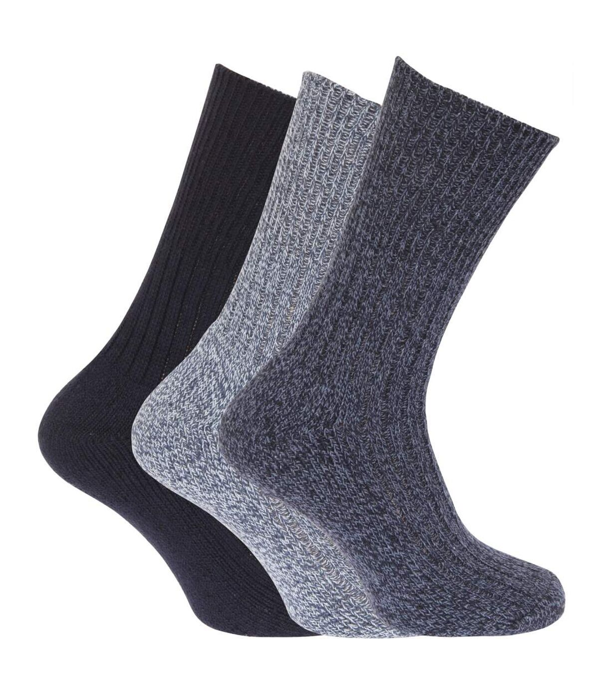 Mens Wool Blend Non Elastic Top Light Hold Socks (Pack Of 3) (Shades of Blue) - UTMB159
