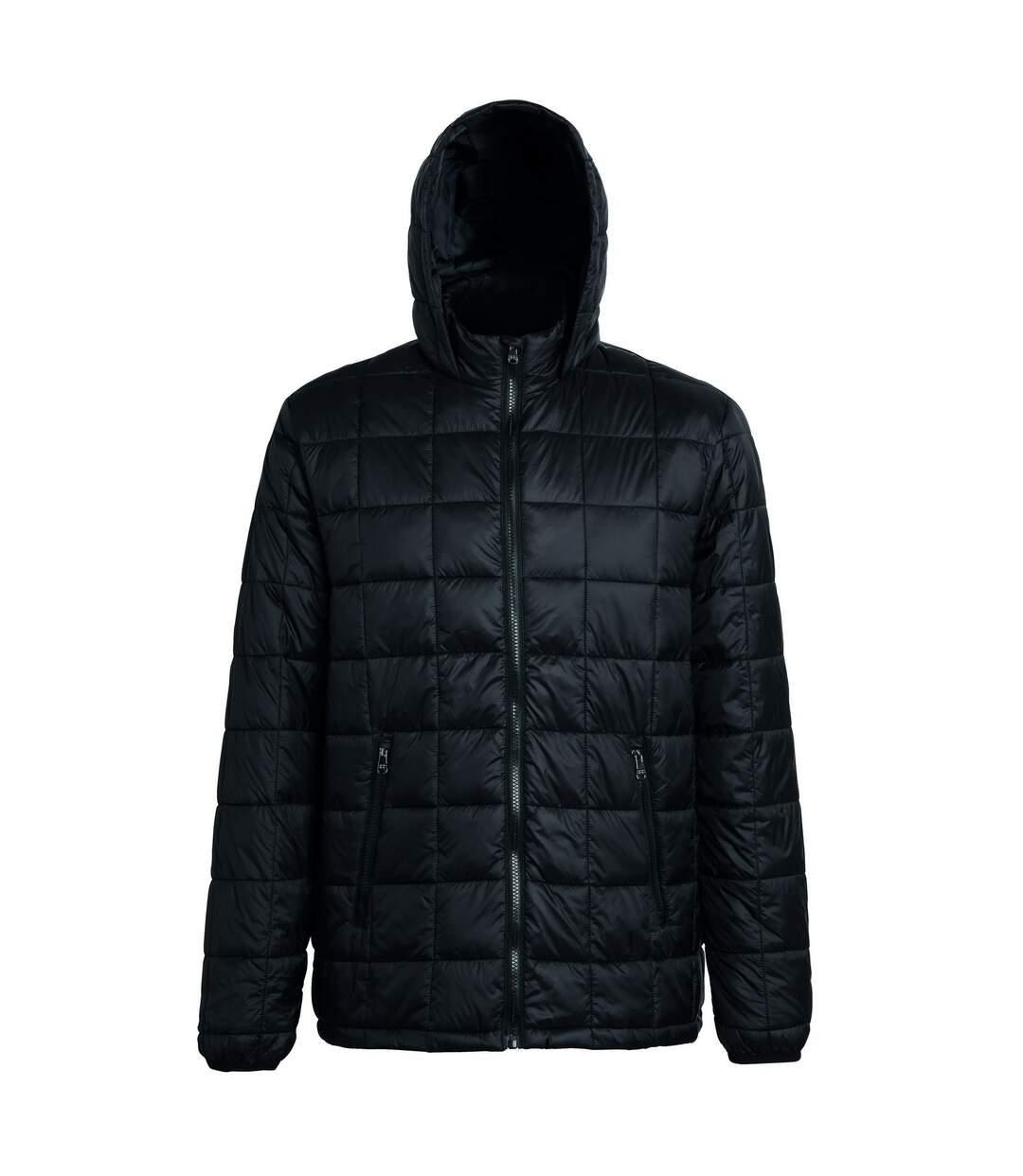 2786 Mens Box Quilt Hooded Zip Up Jacket (Black) - UTRW5263