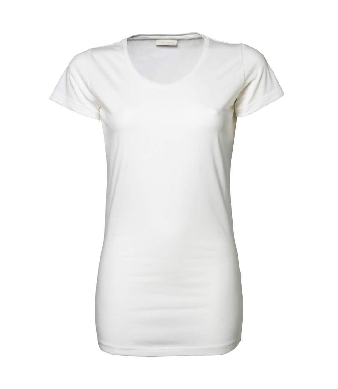 Tee Jays - T-Shirt Long À Col En V - Femme (Blanc) - UTBC3310