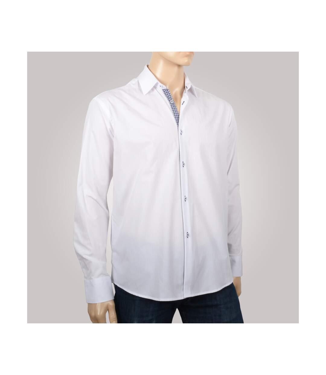 Chemise homme blanche duo carreaux bleu gris - Chemise NON CINTRÉE