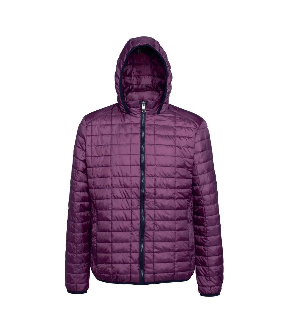 2786 Mens Honeycomb Padded Hooded Jacket (Mulberry) - UTRW5018