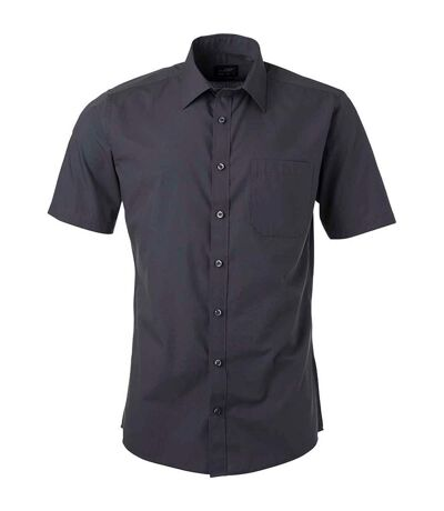 chemise popeline manches courtes - JN680 - homme - gris carbone
