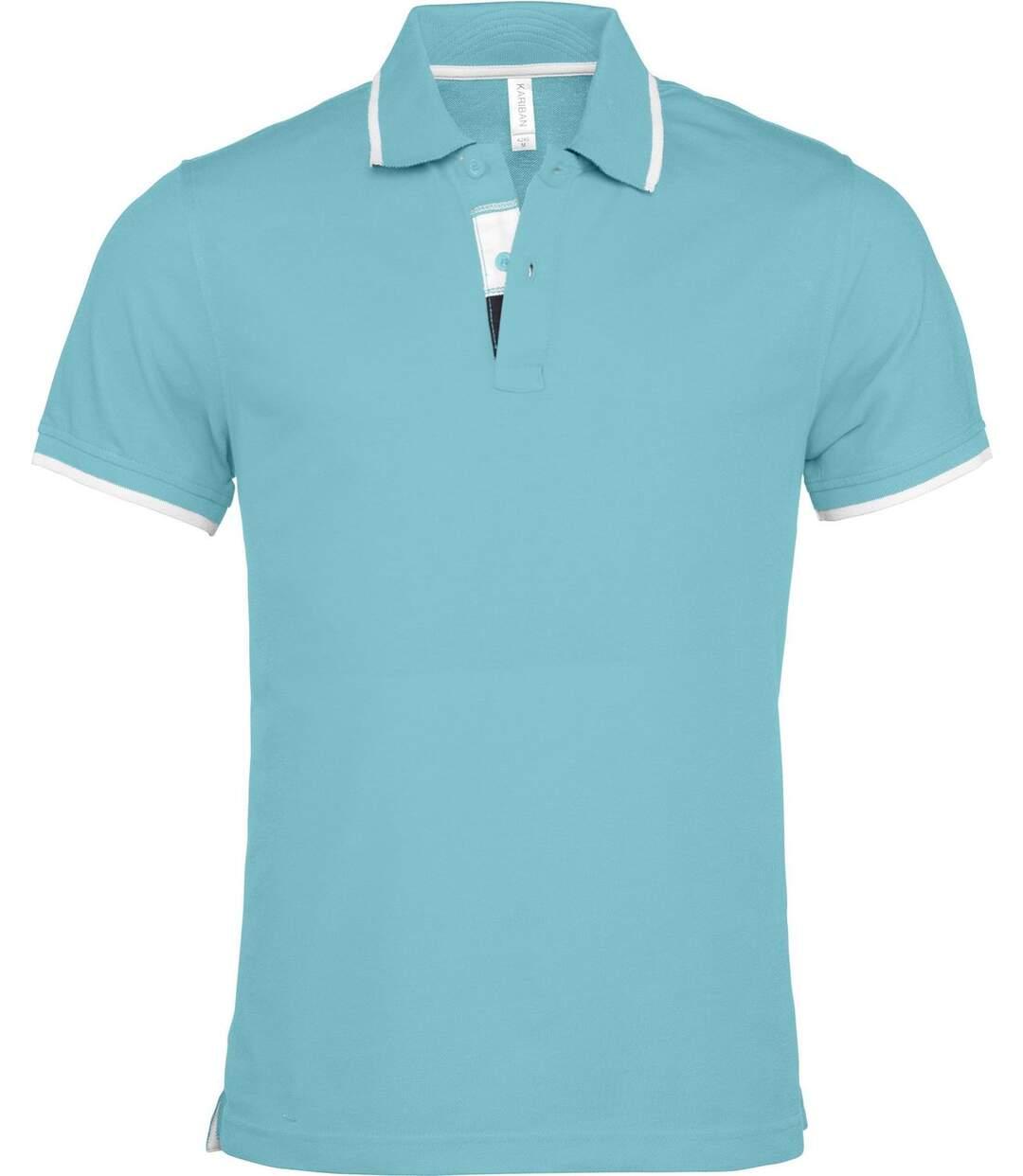 Polo homme inserts contrastés - manches courtes - K245 - bleu turquoise